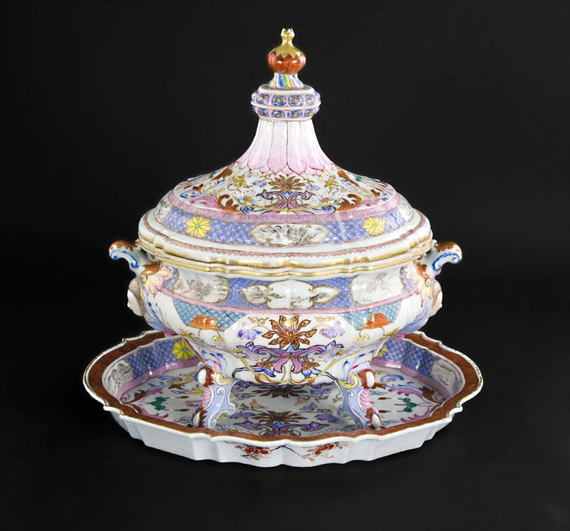 Tureen, cover and stand, (c. 1740), Chinese, Qianlong period (1736–95), porcelain decorated in famille rose enamels, ht 38cm.