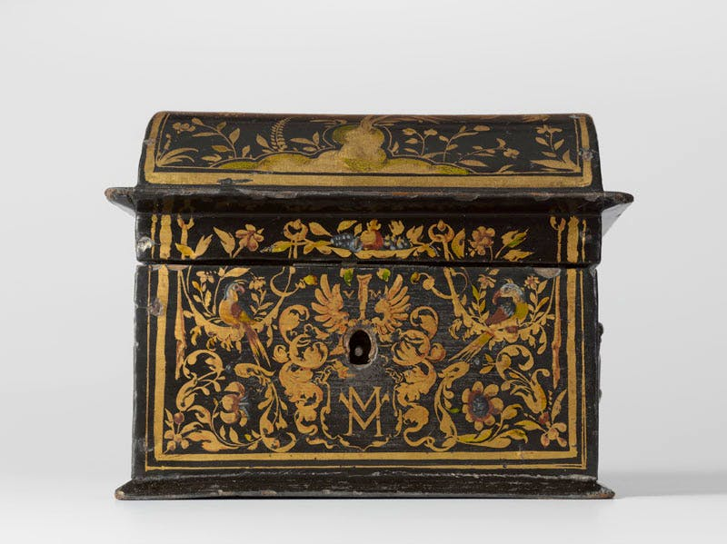 Casket (1618), attributed to Willem Kick. Casket, oak covered with imitation lacquer.