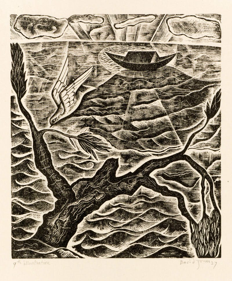 (1927), David Jones, wood engraving from  the series made for The Chester Play of the Deluge.