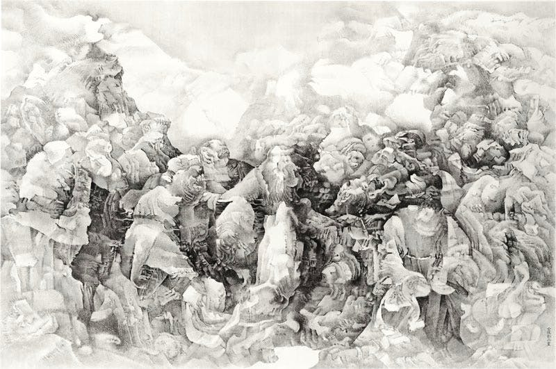 (2015), Liu Dan (b. 1953), ink on paper, 200 × 301cm.