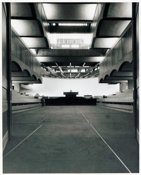 The interior of the chapel as it appeared when the building was completed in 1966.