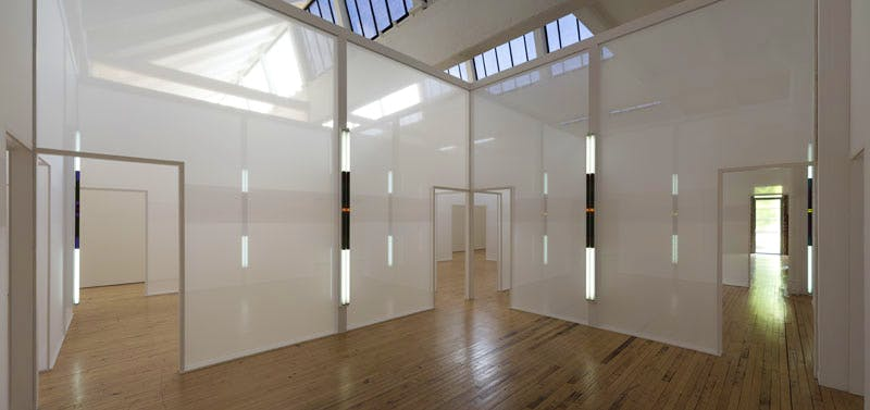 (2015), Robert Irwin, Tergal voile, fluorescent bulbs, and framing materials. Installation view at Dia:Beacon; Riggio Galleries, New York.