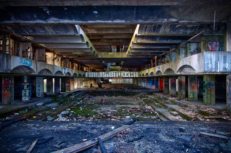 The ruined interior of the residential block at  St Peter's Seminary, photographed in 2010.