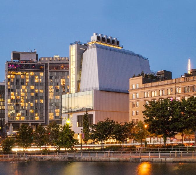View from the Hudson River of the new Renzo Piano-designed Whitney Museum of American Art.