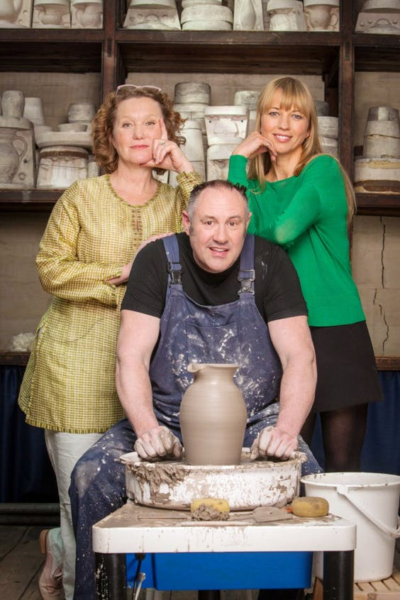 Kate Malone, Keith Brymer Jones and Sara Cox prepare to sex up pottery.