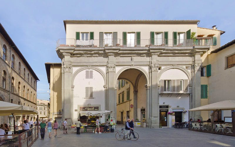 Present-day view of Piazza di San Pier Maggiore, Florence, with the remaining 17th-century portico-façade of the church