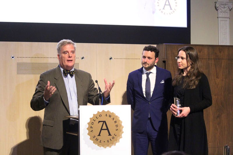 Roger Michel, director of the Institute for Digital Archeology, collects the Apollo Award for Digital Innovation of the Year