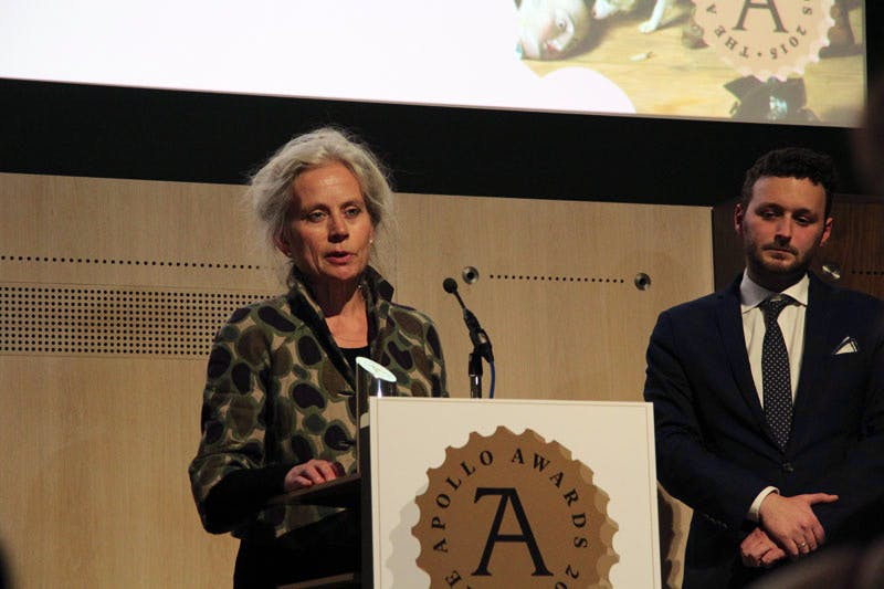 Jane Munro, Keeper of Paintings, Drawings and Prints at the Fitzwilliam Museum, collects the Apollo Exhibition of the Year Award for 'Silent Partners'.