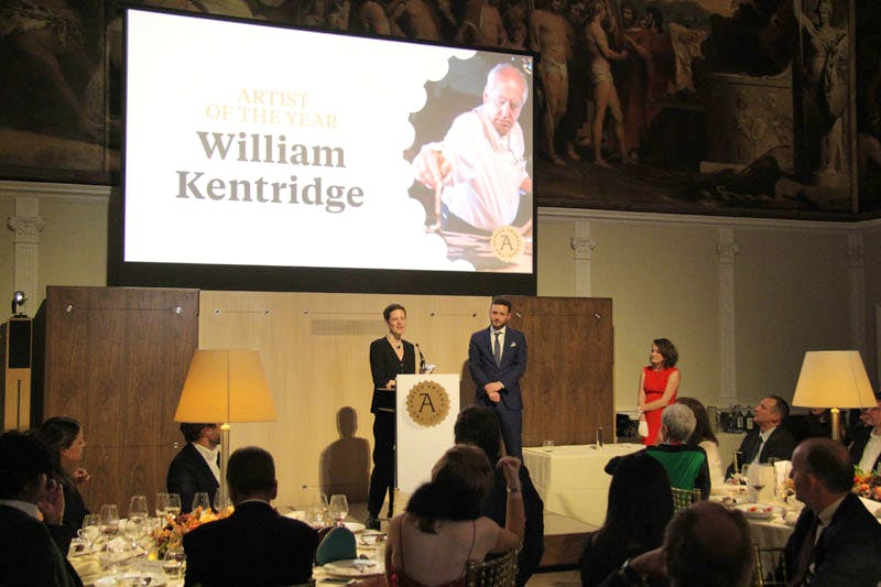 Alice Kentridge collects the Apollo Award for Artist of the Year on behalf of her father, William Kentridge