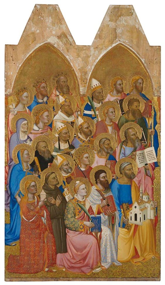 (left main tier panel; 1370–71), Jacopo di Cione and workshop (1320/30–c. 1398/1400), tempera on wood, 169× 113cm.