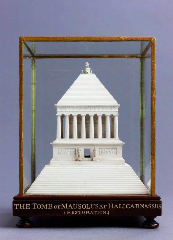 Model of the Tomb of Mausolus at Halicarnassus, early 19th century, François Fouquet (1787–1870), plaster of Paris,ht 25cm (of glass case).