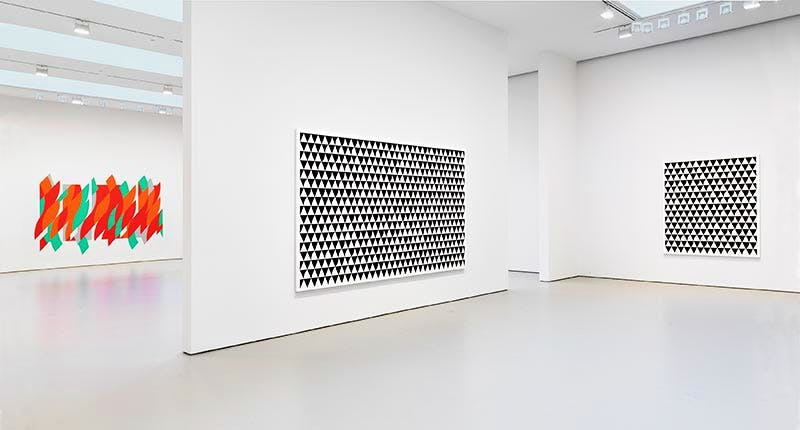 Installation view from the 2015 solo exhibition Bridget Riley at David Zwirner, New York