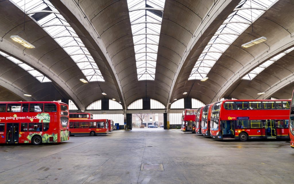 Stockwell Bus Garage, by Adie, Button & Partners, 1951–53; John Smith of A.E. Beer & Co.