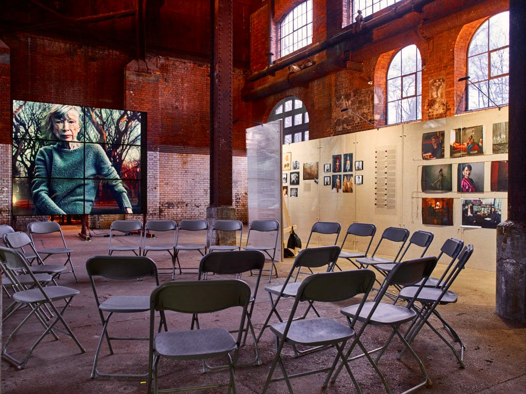 Installation view of 'Women: New Portraits by Annie Leibovitz' at the Wapping Power Station, 2016.