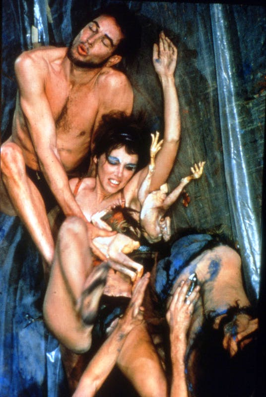 Meat Joy, 1964, Carolee Schneemann (b. 1939), video still of the documentation of the performance at the Judson Dance Theater, Judson Memorial Church, New York, 16–18 November, 1964