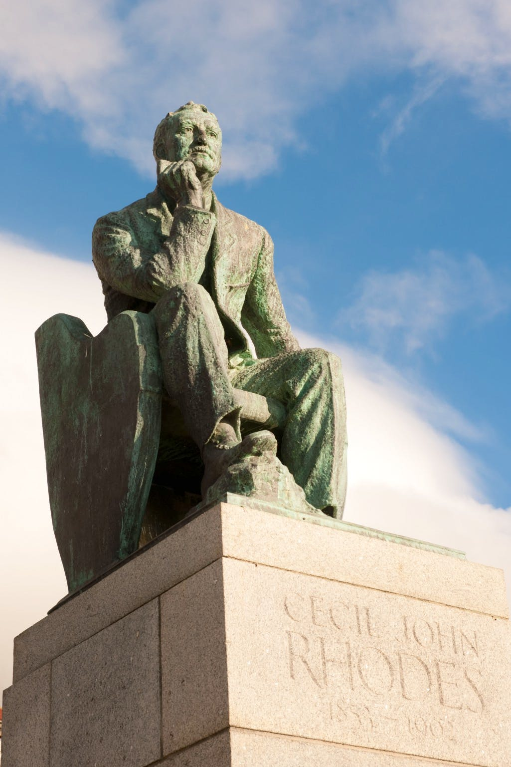 Statue of Cecil Rhodes at the University of Cape Town, erected in 1934 and removed in 2015