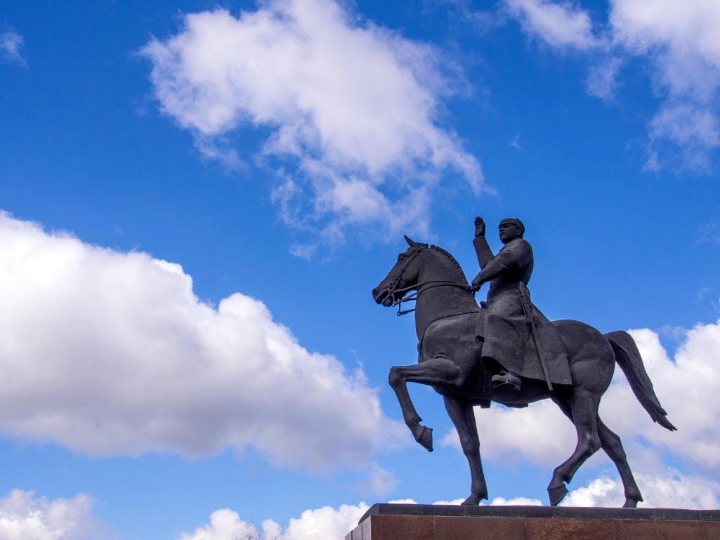 Equestrian statue of Kliment Voroshilov in his birthplace of Lugansk, Ukraine