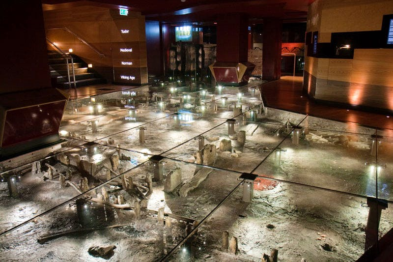 The Jorvik Viking centre, which is built on the site of the excavations, before the flooding.
