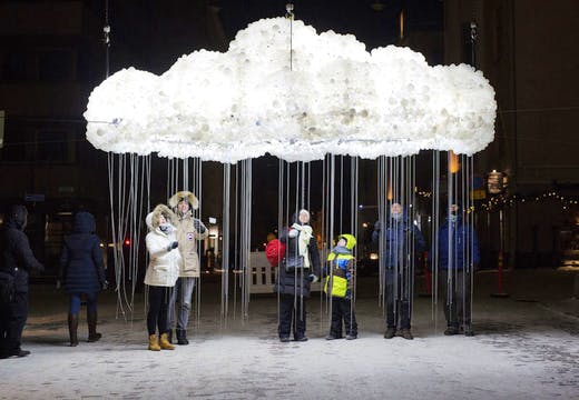 CLOUD, by Caitlind r.c. Brown & Wayne Garrett at the crossing between Annankatu and Kalevankatu. Part of Lux Helsinki. Photo: Lauri Rotko