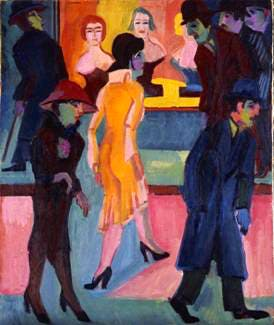 Street Scene in front of the Hair Salon, 1926, by Ernst Ludwig Kirchner