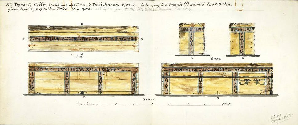 Edward Towry Whyte's drawings of a wooden coffin excavated by John Garstang in Beni Hasan in Egypt in 1902–03