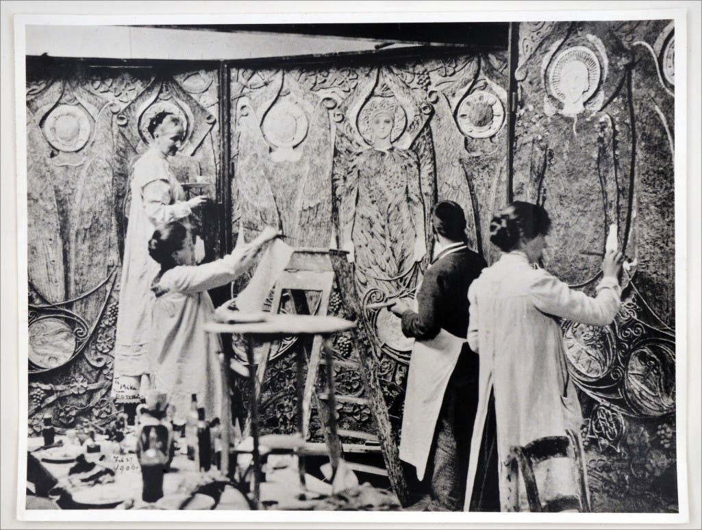 Mary Watts and her students decorating the Watts Chapel at Compton in 1902