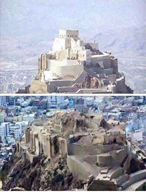 Before and after showing the destruction of Algahyra Castle in Taiz