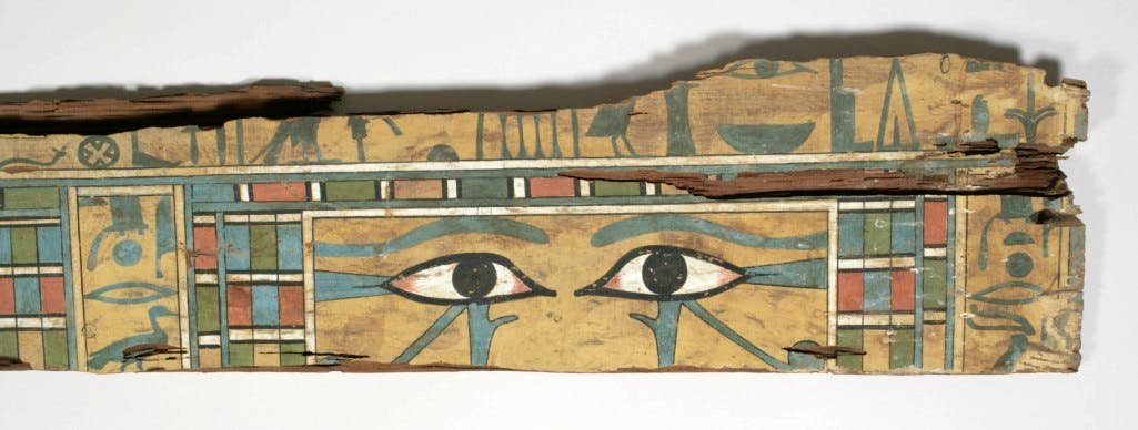 Detail from the coffin of Senuitef, showing wedjat eyes, Egyptian, 12th Dynasty, Middle Kingdom, 1975–1790 BC