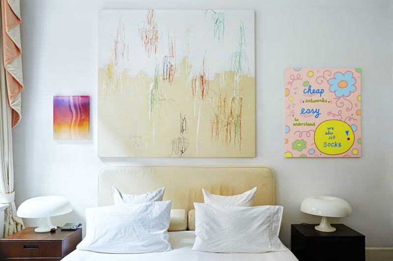 In the bedroom hang works by Mika Tajima, Ghada Amer and Lily van der Stokker (left by right)
