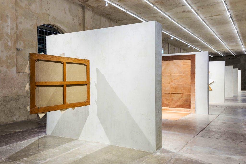 'Recto Verso' exhibition view at Fondazione Prada, Milan. Showing 'Antologia' (1974) by Giulio Paolini.