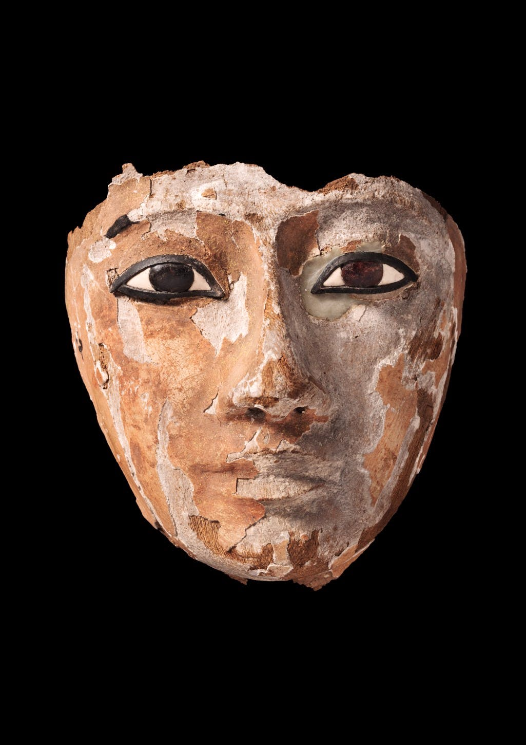 Wooden face with inlaid eyes, originally part of a coffin, Egyptian, 22nd Dynasty, Third Intermediate Period, 945–735 BC
