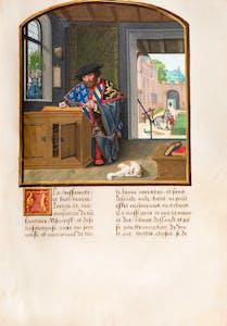 The Author in His Study, from the Livre des fais de Jacques de Lalaing by Jean Lefèvre de Saint-Remy (and others). Burgundian Netherlands, (c. 1530-40), Simon Bening, Fol. 10v.