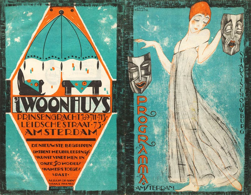 Cover for Amsterdam City Theatre programme with advertisement for 't Woonhuys, showing furniture by Michel de Klerk from 1916-17