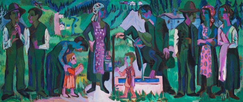 Alpsonntag. Szene am Brunnen (1923-25), Ernst Ludwig Kirchner.