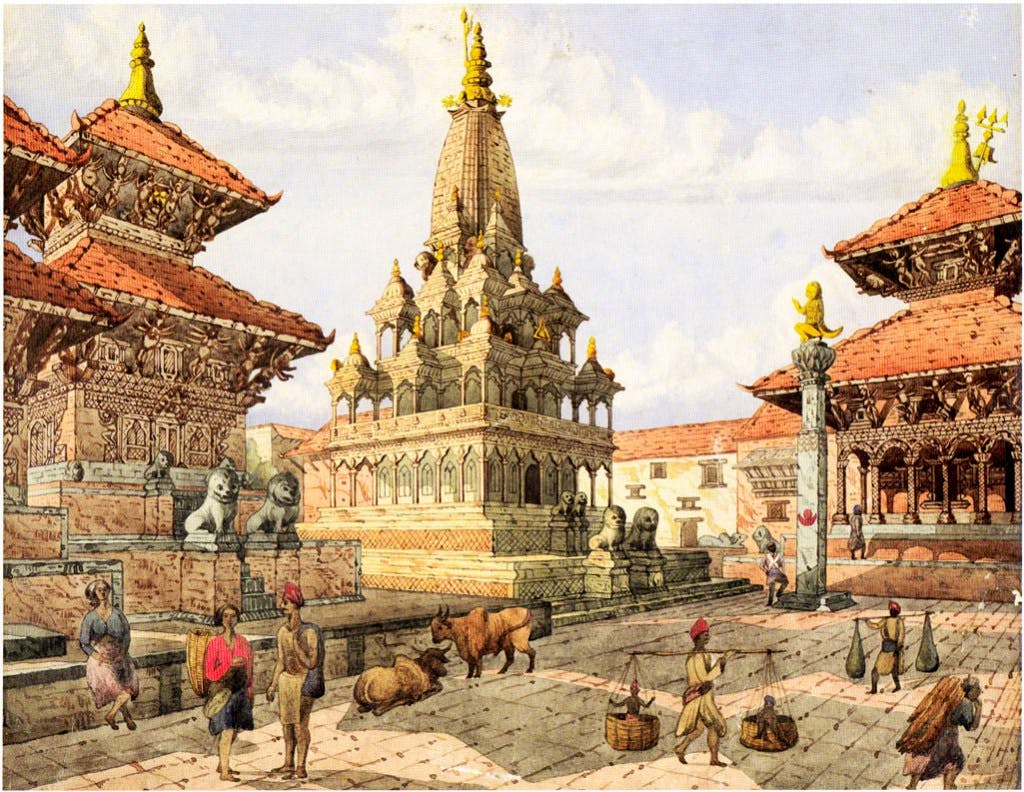 Patan Darbar Square with the Krishna Temple (centre), the Vishveshvara Temple (right) and the Carnarayan Temple (left) (c. 1855), Henry Ambrose Oldfield.
