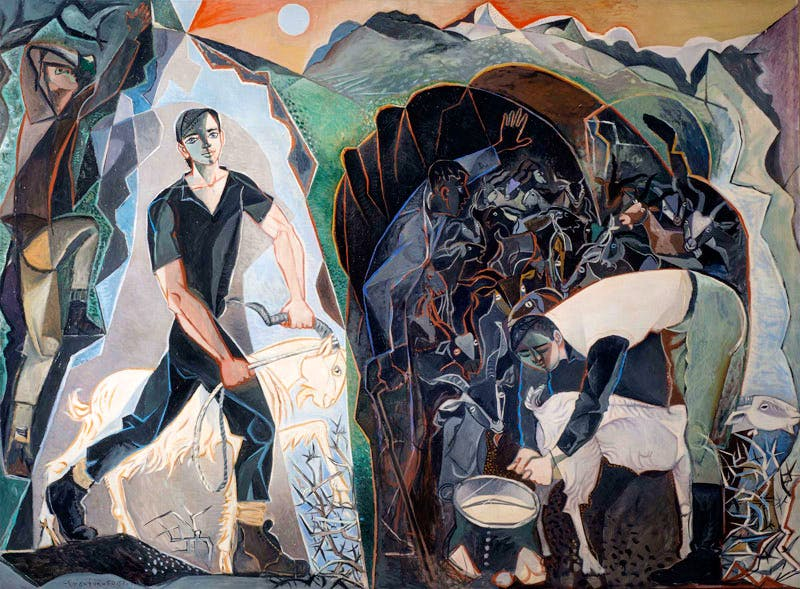 Four Figures in a Mountain Landscape