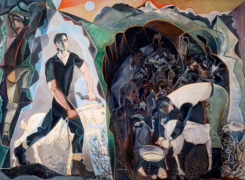 Four Figures in a Mountain Landscape (1950–51), John Craxton. © Craxton Estate. Photo: Bristol Museum, Galleries & Archives
