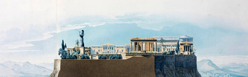 Perspective of the Principal View of the Royal Palace on the Acropolis: Section Through Line A.B. on the Ground Plan Looking West (published 1840), Schnechten; after Karl Friedrich Schinkel.