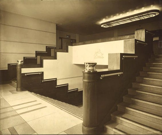 An early view of an interior staircase at the Rothesay Pavilion (photo: n.d.)