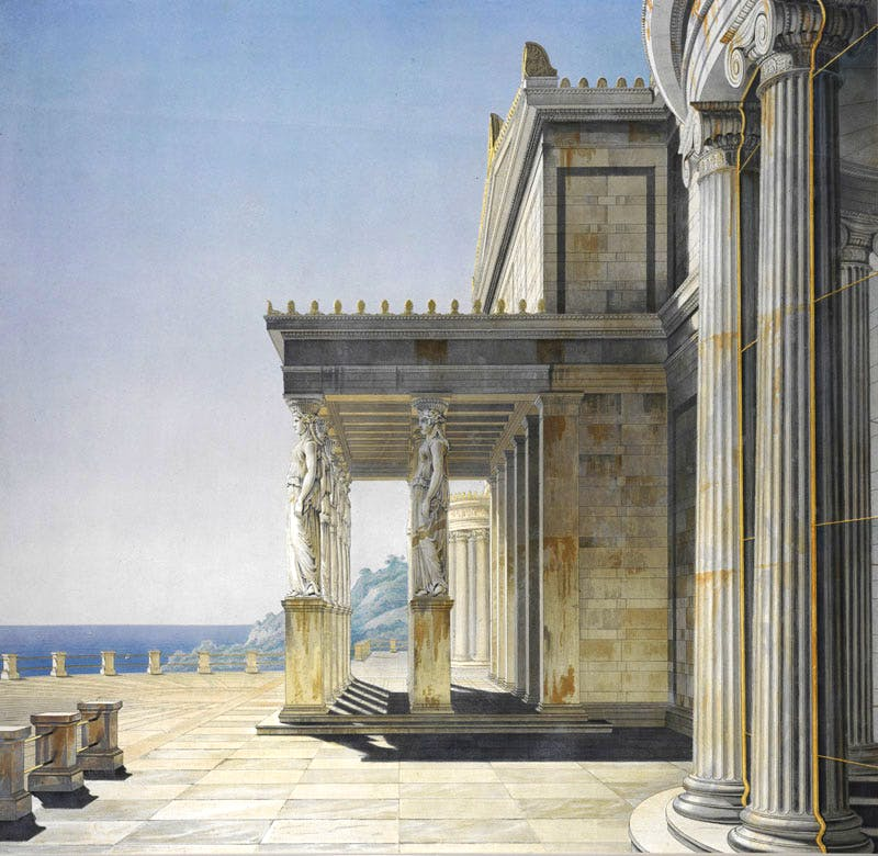 Perspective View of the Sea Terrace, Showing the Caryatid Portico and Glazed Semi-circular Side Bay (published 1847), W. Loeillot; after Karl Friedrich Schinkel