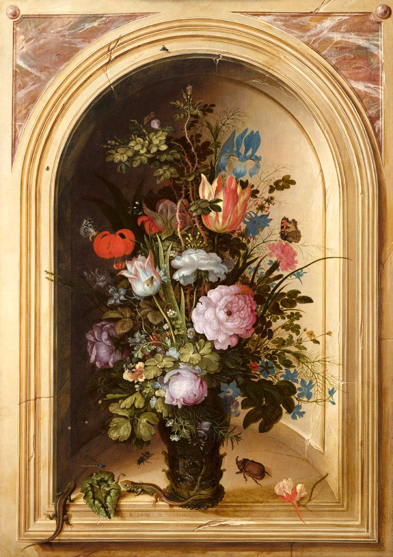 Vase of Flowers in a Stone Niche (1615), Roelant Savery.