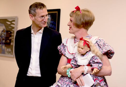 South London and Maudsley CEO Matthew Patrick with Grayson Perry at the Bethlem Museum of the Mind, London.