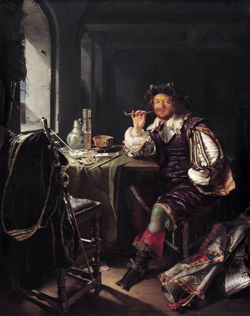 An Interior with a Soldier Smoking a Pipe (c. 1657), Frans van Mieris. National Gallery of Art