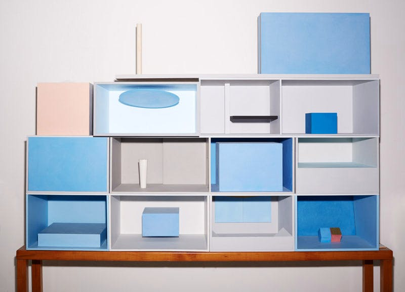 A stack of models in Spalletti's studio showing his immersive rooms, each one dominated by a block of colour.