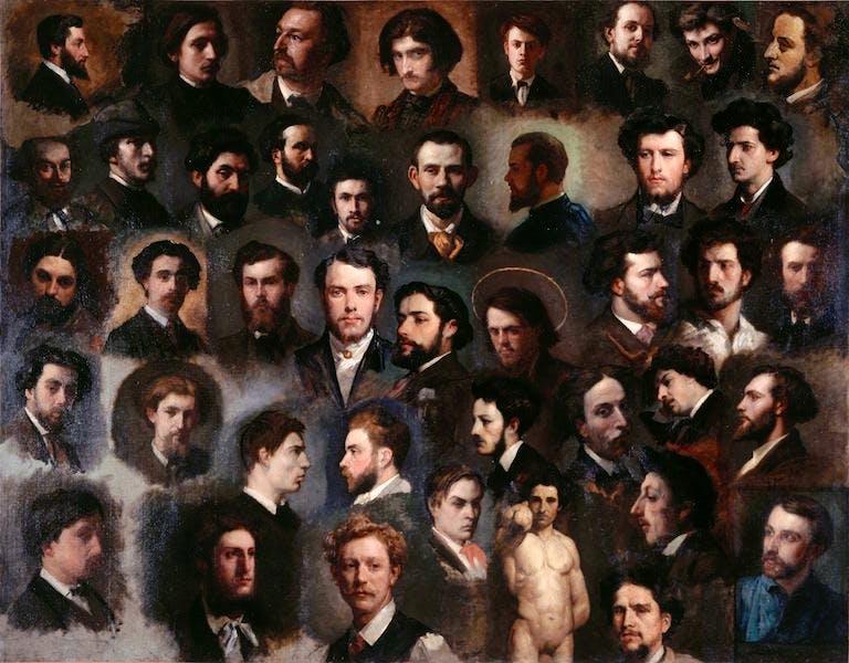 Quarante-trois portraits de peintres de l'atelier Gleyre
