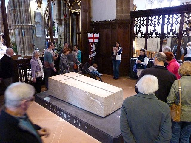 The new tomb of Richard III in the East end of Leicester Cathedral.