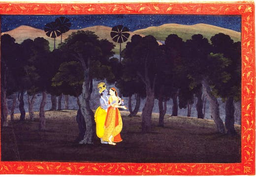 Abashed at her delight; of her deep joy afraid. Folio from a Gita Govinda series. Pahari, by a member of the fist generation after Nainsukh; (c. 1775–80)