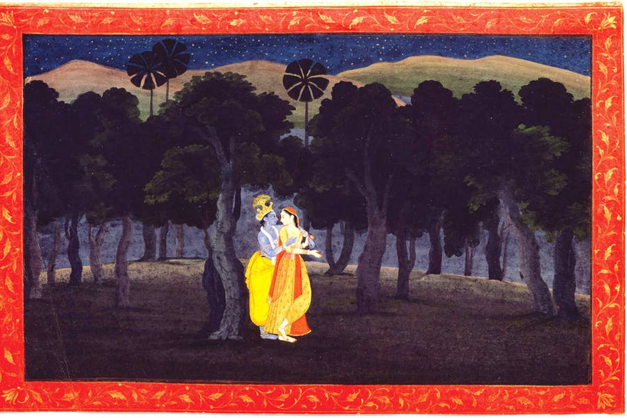 a038a340a Abashed at her delight  of her deep joy afraid. Folio from a Gita Govinda