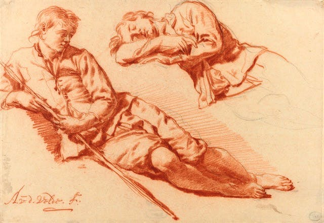 Two Studies of a Shepherd lying down