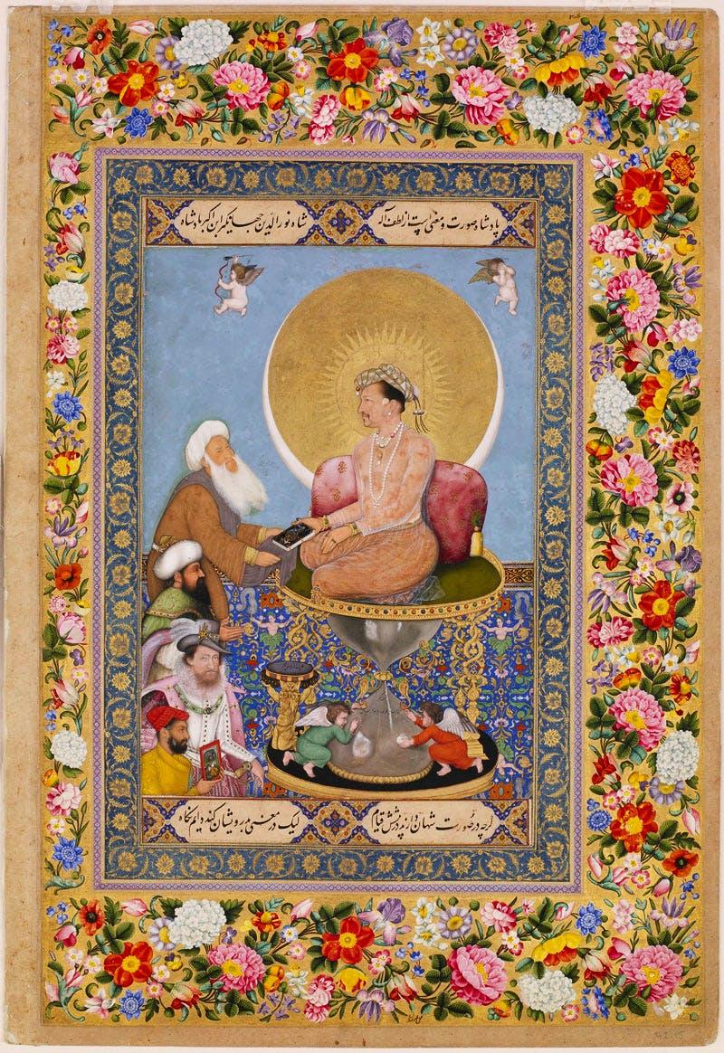 Jahangir Preferring a Sufi Shaikh to Kings, from the St Petersburg Album, (1615–18), Bichitr. Freer Gallery of Art, Smithsonian Institute, Washington D.C.